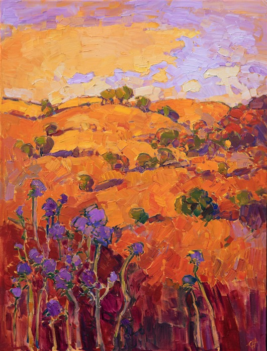 The Orange Show - Paso Robles impasto oil painting at The Erin Hanson Gallery