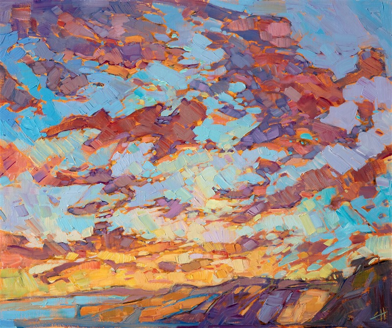 Original oil painting of jutting bluffs in San Diego's Torrey Pines, by contemporary impressionist Erin Hanson.