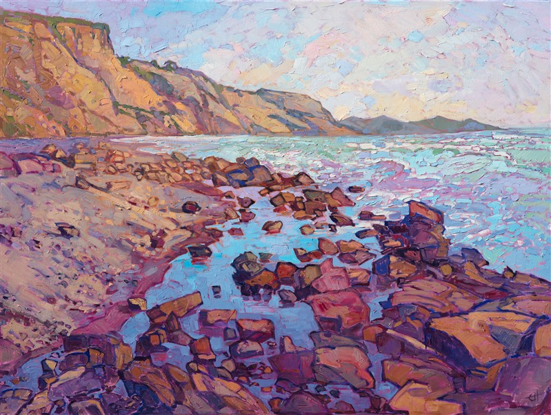 Original impressionistic oil painting of San Diego's Torrey Pines. Jutting bluffs over scattered rocks on coastline.