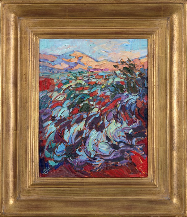Beautiful landscape painting of Kayenta Utah in gold Open Impressionist frame by impressionist artist Erin Hanson