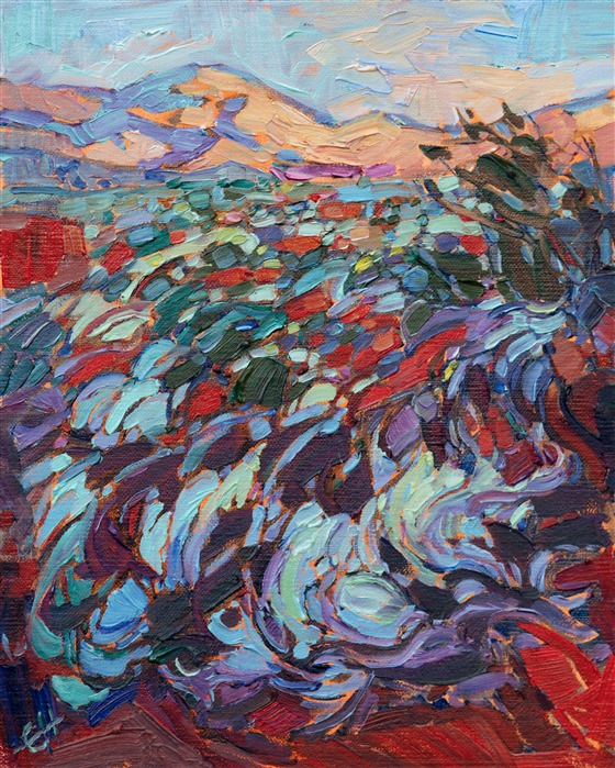 Beautiful landscape painting of Kayenta Utah by impressionist artist Erin Hanson