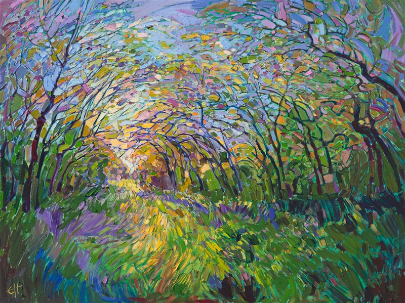 Viridian Path, original oil painting of a Texas landscape, by Erin Hanson.