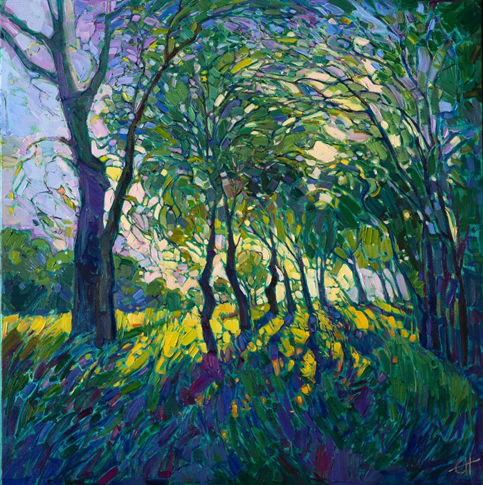 A contemporary expressionist landscape oil painting by modern artist Erin Hanson.