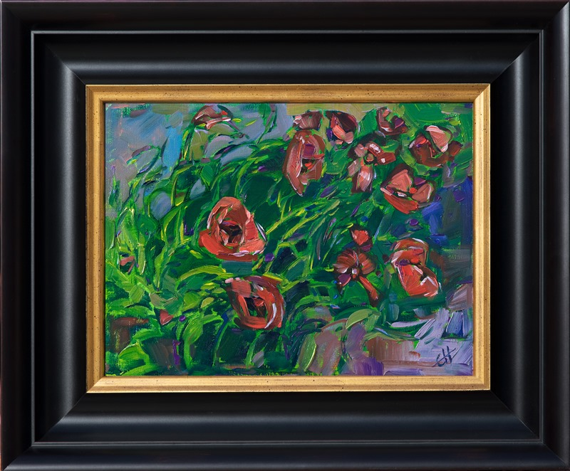 Impressionistic painting of red poppies in spring by Erin Hanson in black and gold frame
