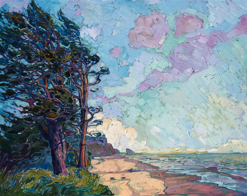 Northwestern pines blown by westerlies, original oil painting by contemporary impressionist Erin Hanson
