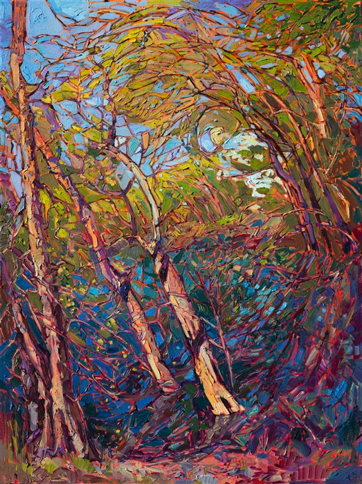 Erin Hanson creates vivid landscape oil paintings with a mosaic stained glass painting style