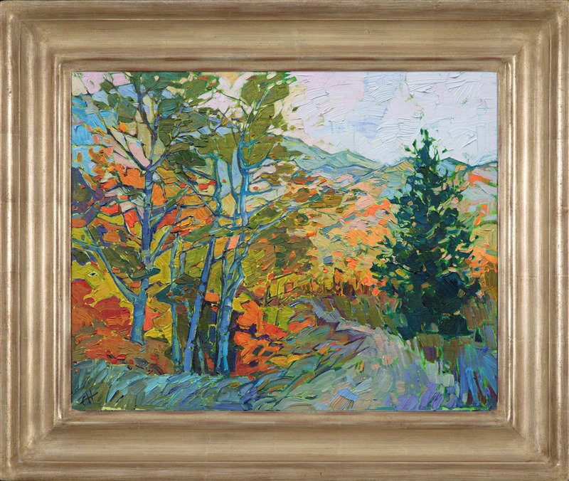 Impressionist landscape of White Mountain in fall in champagne carved frame by California artist Erin Hanson