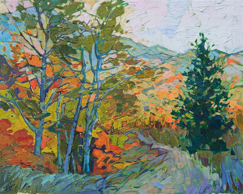 Impressionist landscape of White Mountain in fall by California artist Erin Hanson