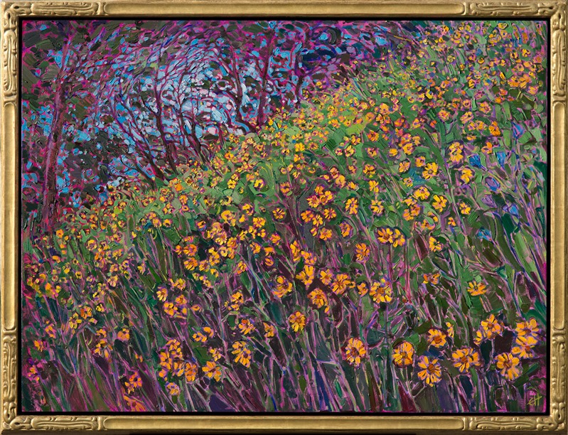 Floral impressionism oil painting done in a modern style by Erin Hanson.