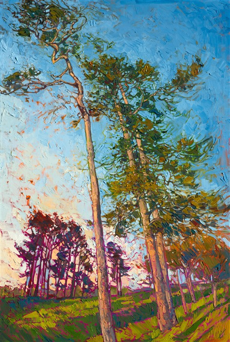 Winding pines modern impressionism landscape painting for sale online.