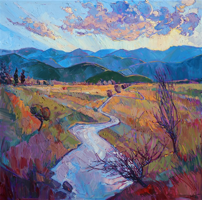 Montana plains near Glacier National Park, painted in oils by Erin Hanson