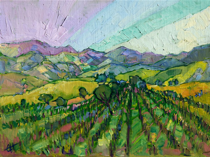 California wine country Paso Robles oil painting by Erin Hanson