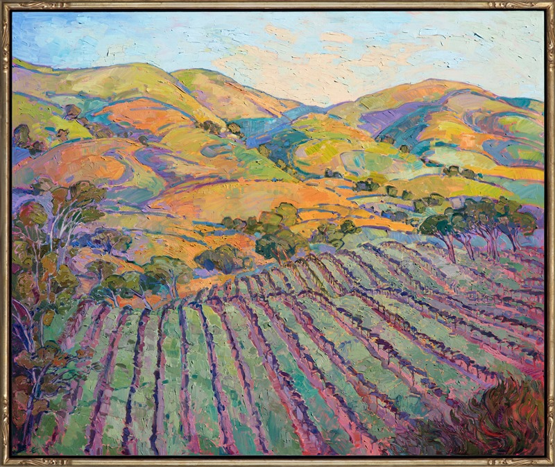 Large sized oil painting of California wine country scenery, with vineyards and rolling hills, in a colorful, expressionistic style framed in hand carved gold frame.