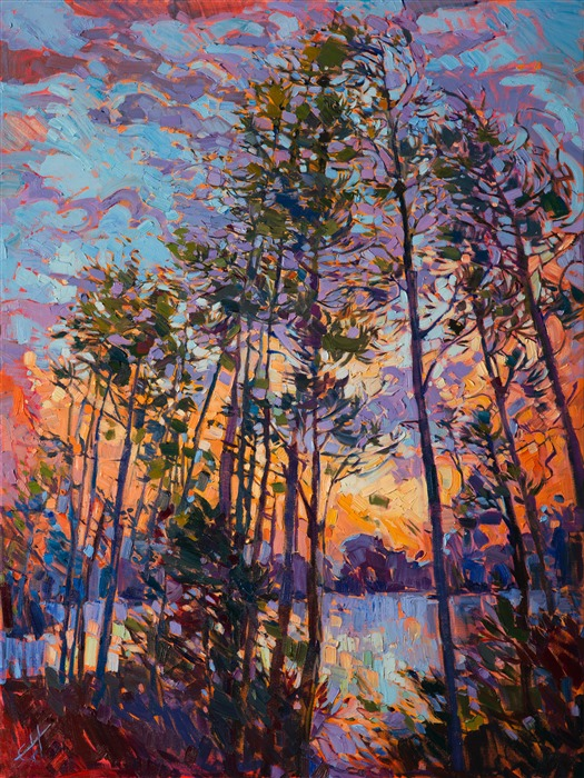 Lake Woodlands original oil painting by contemporary impressionist landscape painter Erin Hanson.
