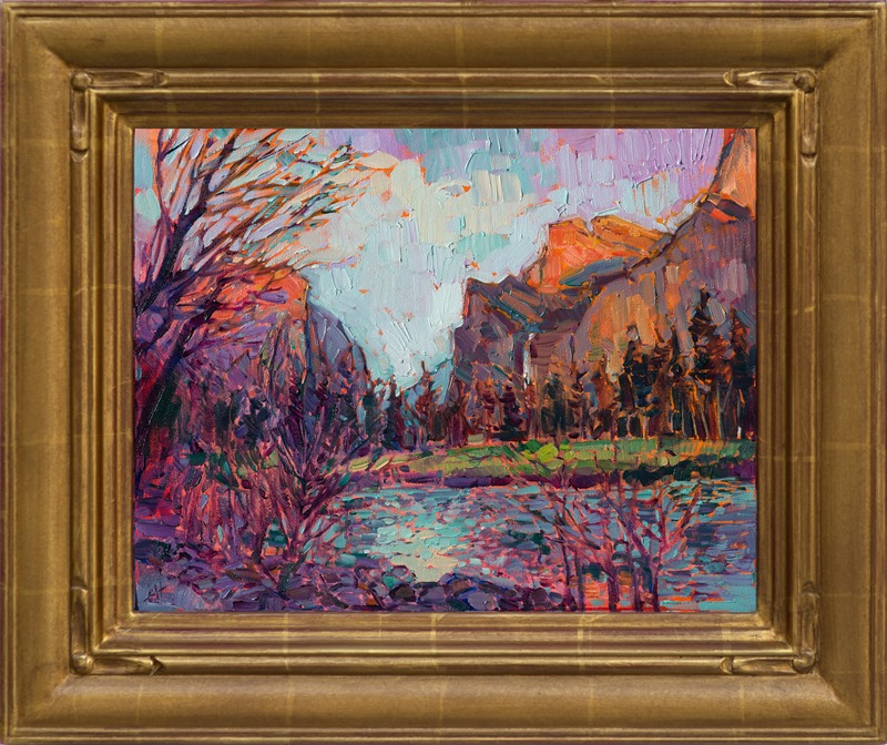 Yosemite landscape oil painting in a hand-carved impressionist frame.