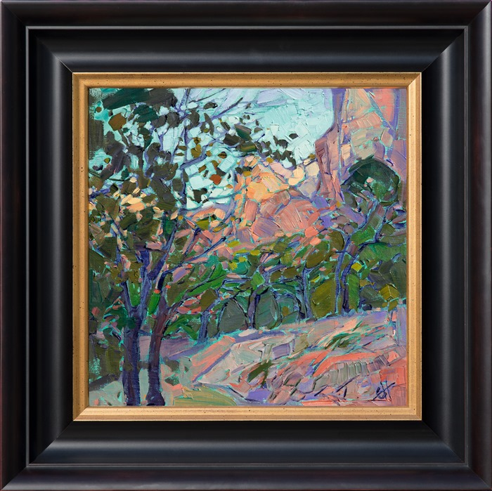 Impressionist oil painting inspired by Zion Canyon in black and gold frame