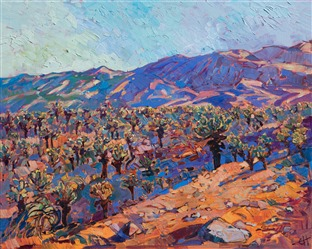 Jumping Cholla field in Joshua Tree National Park - oil painting by Erin Hanson