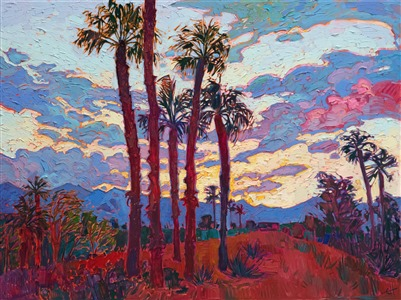 Coachella Valley orignal oil painting landscape for sale by contemporary impressionist Erin Hanson