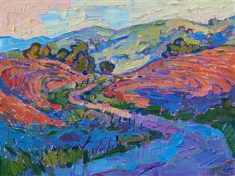 California wine country hills painting by modern impressionist Erin Hanson