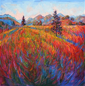 Scarlet Pines, vivid stylized oil painting with vivid mosaic color, by artist Erin Hanson