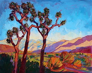 Abstract shapes in the desert landscape, original oil painting by Erin Hanson