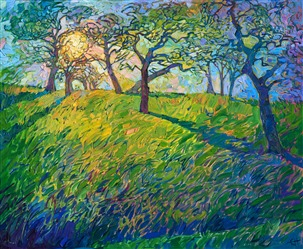 Landscape oil painting of Paso Robles hills with sunlight streaming through the trees, by impressionist artist Erin Hanson