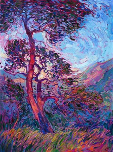 Abstract oak trees painted in an impressionistic style, by modern artist Erin Hanson.