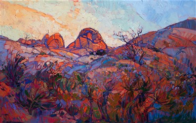 Joshua Tree National Park original oil painting artwork for sale by Erin Hanson