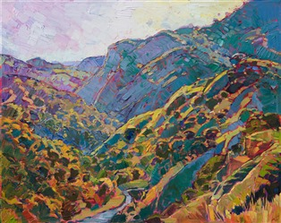 Oil painting of beautiful oak trees with colorful hills by contemporary artist Erin Hanson