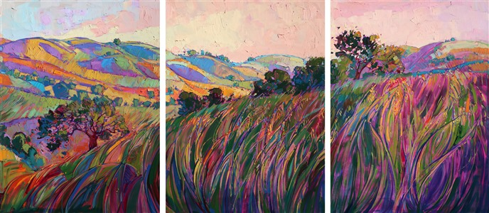 Paso Robles large tritpych oil painting landscape by modern impressionist Erin Hanson