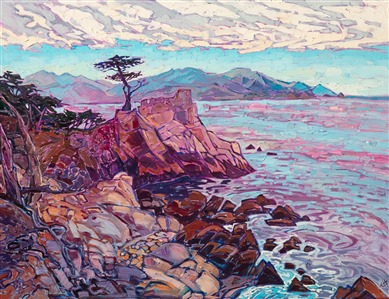 Lone Cypress iconic California landscape painting by modern impressionist Erin Hanson