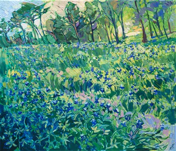 Oil painting of Texan field of Bluebonnets painted by contemporary impressionist artist Erin Hanson