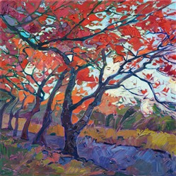Oil painting of red maple trees near Tenryū-ji Temple, Kyoto, Japan, by contemporary artist Erin Hanson