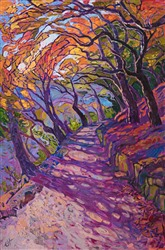 Mosaic path colorful oil painting by modern impressionist painter Erin Hanson