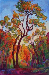 Zion cottonwood autumn colors oil painting by Erin Hanson