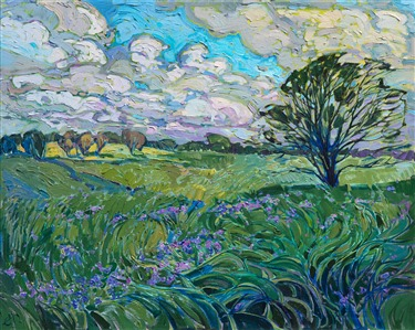 Texas hill country landscape of wildflowers in spring, by American impressionist Erin Hanson.