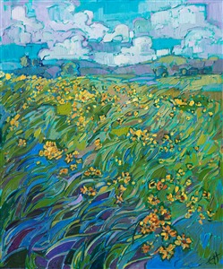 Texas hill country wildflower oil painting for sale by contemporary impressionism painter Erin Hanson