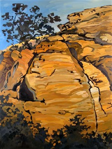 Karate Crack, rock climbing oil painting by Erin Hanson
