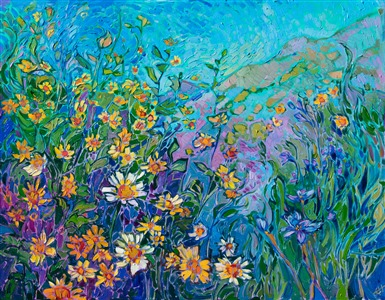 California super bloom original oil painting by modern impressionist painter Erin Hanson.