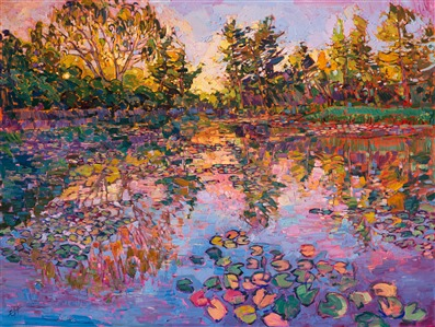 Erin Hanson lilies on the lake painting like the one in Allegretto Paso Robles