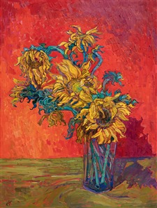 Contemporary impressionism Erin Hanson sunflowers oil painting after Van Gogh
