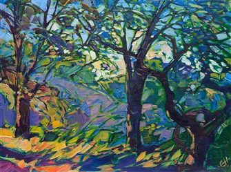 Colorful Paso Robles petite oil painting with vivid trees by Erin Hanson