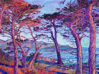 Erin Hanson Carmel cypress tree oil painting in a contemporary impressionism style.