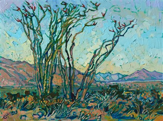 Borrego Springs ocotillo oil painting by American impressionist Erin Hanson