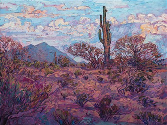 Southwest Arizona desert with lone saguaro by contemporary impressionist artist Erin Hanson