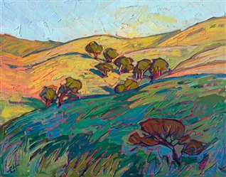 California oaks oil painting by master impressionist painter Erin Hanson