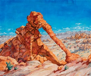 Oil painting of Valley of Fire and ironic Elephant Rock by impressionist artist Erin Hanson