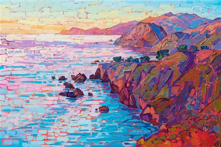 Mendocino coast original oil painting for sale by modern impressionist artist Erin Hanson