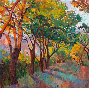 Oak trees painted in oils by California impressionist artist Erin Hanson
