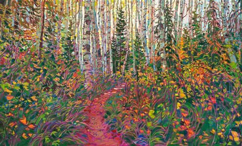 Aspen and pine tree landscape oil painting by modern master impressionist Erin Hanson